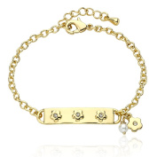 Little Miss Twin Stars Goldplated Children's Pearl and CZ Bracelet