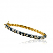 LMTS Girls' 14k Goldplated Cubic Zirconia Navy Enamel Bangle