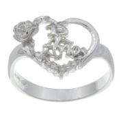 Sterling Essentials Sterling Silver Cubic Zirconia 15 Anos Floral Heart Ring