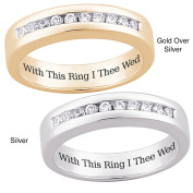 Sterling Silver or 18k Gold-over-Sterling Silver 'With This Ring I Thee Wed' Engraved Pave-set CZ Wedding Band