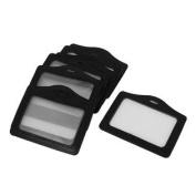 10pcs Black Faux Leather Horizontal Name Tag Employee ID Work Badge Card Holder