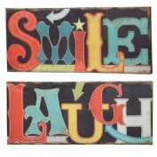 Smile & Laugh Light Up LED Canvas Wall Art Signs Set of 2