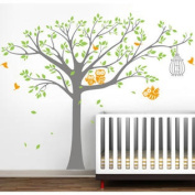 Nursery Tree with Cute Owls Wall Decal - Colour