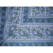 Rajasthan Block Print Paisley Tapestry Cotton Spread 260cm x 180cm Twin Blue