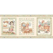Bathroom and Country Angels Wallpaper Border - Green Edge