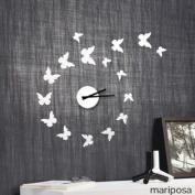 Modern Home Self Adhesive DIY 3D Wall Clock - Mariposa