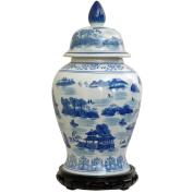 46cm Landscape Blue & White Porcelain Temple Jar