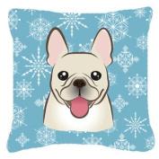 Snowflake French Bulldog Fabric Decorative Pillow BB1672PW1414