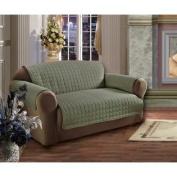 Elegance Linen Quilted Pet Dog Children Kids Furniture Protector Microfiber Slip Cover Love Seat, Green