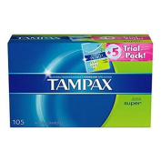 SCS Tampax Tampons - Super - 100 Ct. + 5 Ct. Tampax Pearl Trial Pack by Deep Discount Centre
