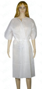 Disposable Nonwoven Short Sleeve Long Patient Gown with Belt Non woven cloth by Skin Act