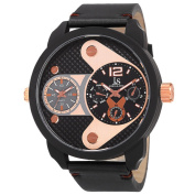 Joshua & Sons Men's Japanese Quartz Multifunction Dual Time Leather Strap Watch