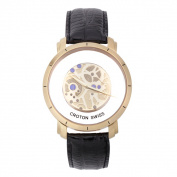 Men's Goldtone Swiss Quartz See-Through Dial Watch with Black Leather Strap