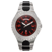 Croton Men's 'Super C' Quartz Watch with Black Dial and Red Markers and Stainless and Silicon Bracelet