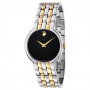 Movado Men's 0606932 Veturi Two-tone Stainless Steel Black Dial Goldtone Hands Watch