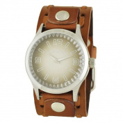 Nemesis Brown and White 'Gradient Pointium' Mens Watch with Brown Wide Weaving Leather Cuff Band