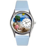 Whimsical Women's Palm Tree Theme Baby Blue Leather Watch