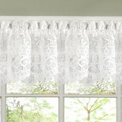 Old World Style Floral Heavy White Lace Kitchen Curtain 12 x 58 Valance