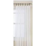 Lorraine Home Fashions Monte Carlo Pinch Pleat Sheer Window Curtain Pair, 120cm by 160cm , Snow White