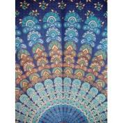 Sanganeer Tab Top Curtain Drape Panel Cotton 110cm x 220cm Navy Blue