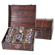 USMC Marines Wood Chest Set with Decanter and glasses