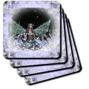 3dRose cst_31042_4 Winter Solstice Winter Fairy-Ceramic Tile Coasters, Set of 8