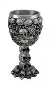 Skull Covered Silvered Black Drinking Goblet w/Stainless Steel Liner