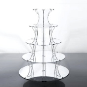 Jusalpha(TM) 5 Tier Round Elegant Crystal Clear Acrylic Wedding Cupcake Stand Tower