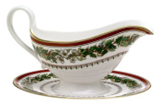 Spode Christmas Rose Sauce Boat and Stand