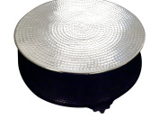 GiftBay Wedding Hammered Design Cake Stand Round 46cm Silver with Unique Tapered Sides