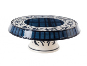Fitz and Floyd Bristol Chip and Dip/Cake Plate, Royal Blue/White