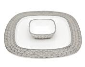 Godinger 16655 White Weave Chip N Dip