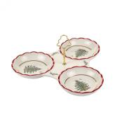 Spode Christmas Tree Santa Tribowl Dish with Handle, Gold