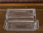 Vintage Style Rectangular Glass Butter Dish