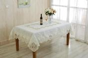 Heritage Embroidered Vintage Lace Design 150cm X 230cm Oblong / Rectangle Tablecloth Colour White