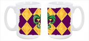 Mardi Gras Fleur de lis Purple Green and Gold Dishwasher Safe Microwavable Ceramic Coffee Mug 440ml 8133CM15