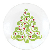 Tannenbaum Christmas Tree Embossed Holiday 20cm Glass Plate Serving Platter
