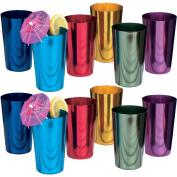(Set/12) Retro Collectible Coloured 470ml Aluminium Beverage Tumbler Glasses