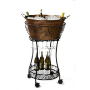 Hammered Faux Copper Chiller With Wine Glass Storage And Shelf