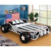 Metal Finish Race Car Design Youth Twin Size Bed Frame
