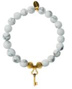 EvaDane Natural Semi Precious Howlite Gemstone Tibetan Bead Key Charm Stretch Bracelet