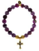 EvaDane Natural Semi Precious Sugilite Gemstone Tibetan Bead Cross Charm Stretch Bracelet