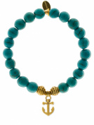EvaDane Natural Semi Precious Turquoise Gemstone Tibetan Bead Anchor Charm Stretch Bracelet