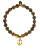 EvaDane Natural Semi Precious Unakite Gemstone Tibetan Bead Anchor Charm Stretch Bracelet