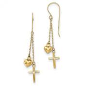 14K Yellow Gold Ropa Chain Puffed Heart & D/C Cross Dangle Earrings