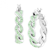 Crystaluxe Braided Hoop Earring with. Crystals in Sterling Silver