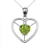 14k White Gold Heart August Birthstone Genuine Peridot and Diamond Open Heart Pendant Necklace
