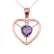10k Rose GoldHeart February Birthstone Genuine Garnet and Diamond Open Heart Pendant Necklace
