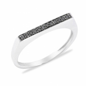 Sterling Silver 0.10cttw Black Diamond Flat Top Stack Band Ring