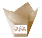 12pack Mr & Mrs Wedding Natural Kraft (Burlap Brown) Tulip Baking Cup Liners